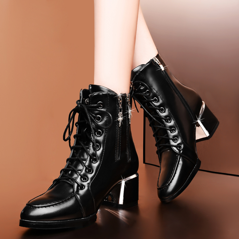 Genuine leather winter boots martin fashion high-heeled shoes women's black real lather lace zipper - Baby shows store