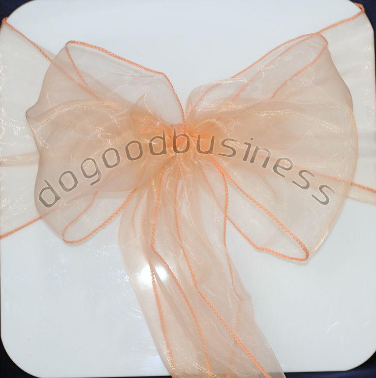 x100 100% new light  Coral/peach Wedding Party Banquet Chair Organza Sash Decoration Supplies - FREE SHIPPING(China (Mainland))