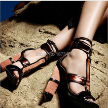 Newest Women Lace Up Gladiator Sandals Patchwork blue Denim cut outs High Heels Shoes Thick Heels