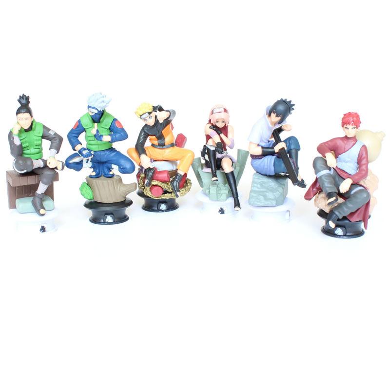6PCS/Set Naruto Chess Action Figure Doll High Quality Sasuke Gaara Shikamaru Kakashi Sakura Anime Toys Collection For Boys(China (Mainland))