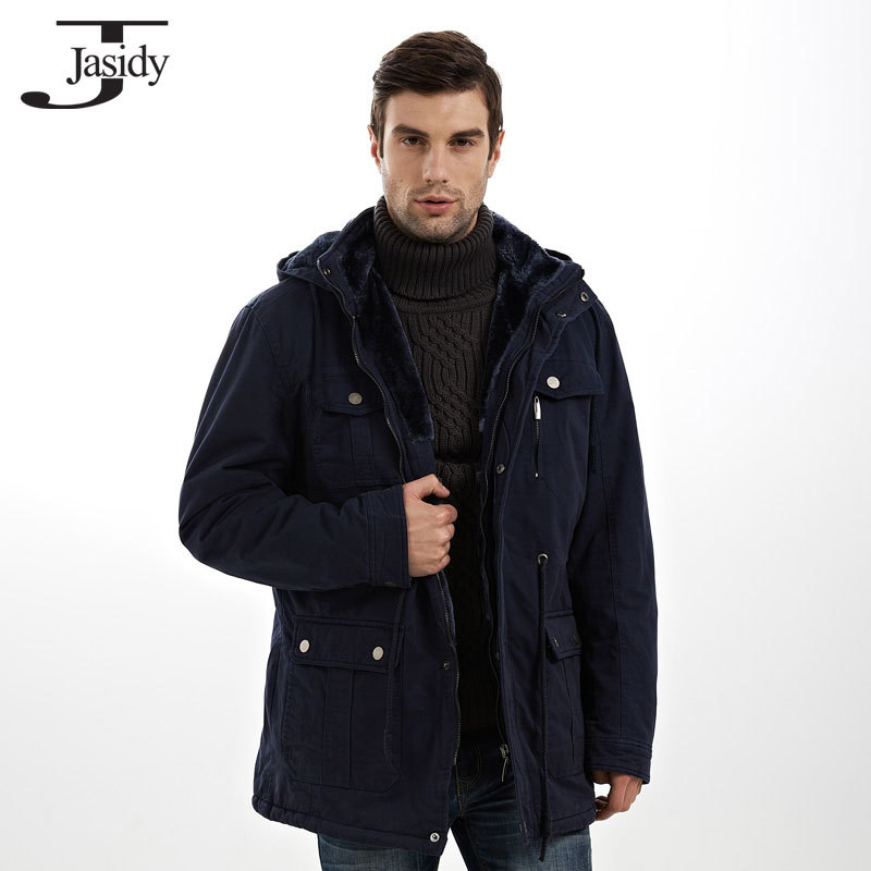 4XL X Long Thick Slim Hat Detachable Winter parkas Men Pockets Zipper Warm Winter Coat Men