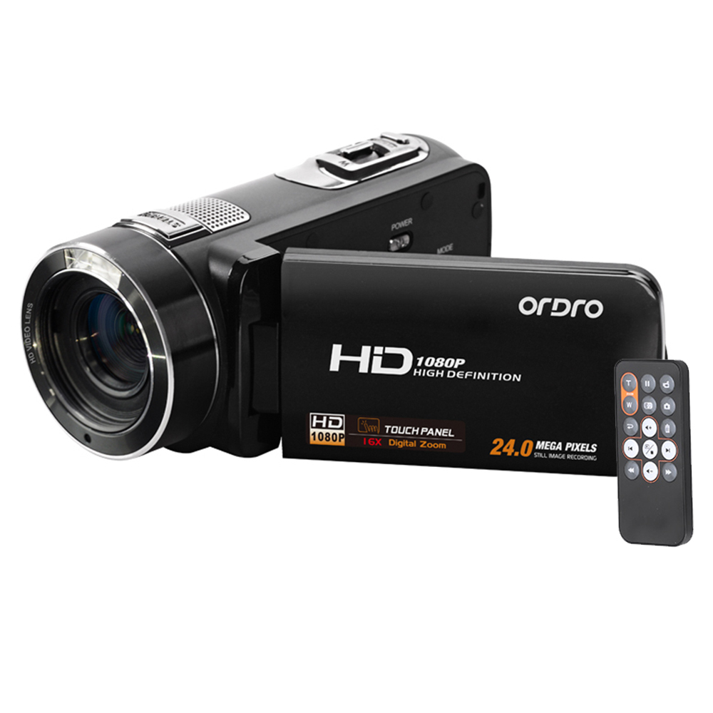 RU Stock ORDRO HDV-Z8 Full HD 1080P Digital Video Camera 16x Digital Zoom LCD Touch Screen 24MP Camcorder Support Face Detection(China (Mainland))