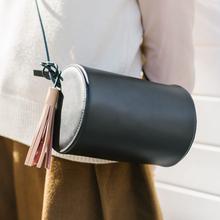 Teeinco original design fashion brief cowhide small round bag genuine leather cylindrical package mini crossbody women's bag