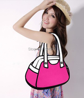 Hot Sell cartoon 3d comic bag casual woman handbag rose red shoulder bag