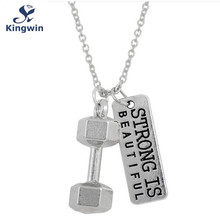dumbbell antique silver necklace strong is beautiful women pendant necklace Fitness fashion sports jewelry free drop ship(China (Mainland))
