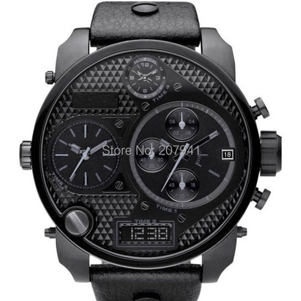 Big dial watch wrist man Black Chronograph fashion cool men's watch quartz watch DZ7193 with Original Box(China (Mainland))