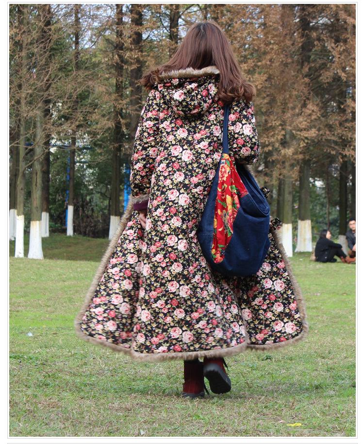 Скидки на Ретро Хлопок Проложенный Пальто Женщин Длинные Традиционный Китайский Стильные Куртки Свободные Маленький Цветочный Цветок Печати Куртка С Капюшоном
