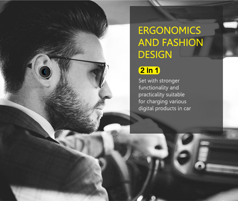 AWEI A871BL Bluetooth V4.1 Earphone with mic Wireless Business Headset Dual USB Charger Port Earphones for iphone Smart phone