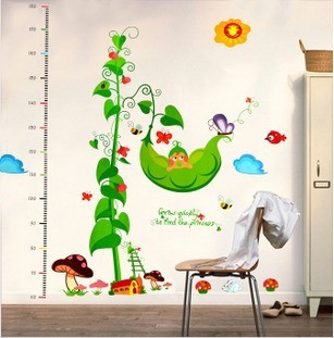 Magic bean pea doll height stickers foot height child real decoration wall stickers sticker extra large