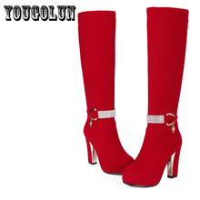 Nubuck PU  Black,Red Round toe Square high heels women fashion Martin boots,2014 Autumn Western metal belt buckle ladies shoes