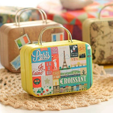Size:75x55x35mm/New arrival vintage small suitcase storage tin candy box change box earphones box small suitcase(China (Mainland))