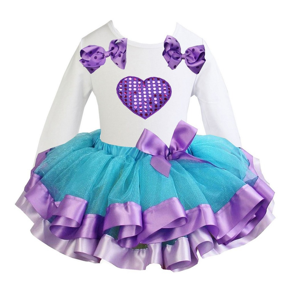 Girl Clothes Blue Lavender Satin Trimmed Tutu Purple Heart White Long Sleeves Tee Party Dress 1-6Y(Hong Kong)
