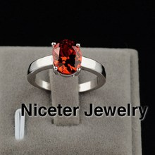 NICETER Fashion Swiss CZ Diamond Rings Oval Cut Ruby Stones Prong Setting Antique Wedding Rings Fashion Rings For Women 2013
