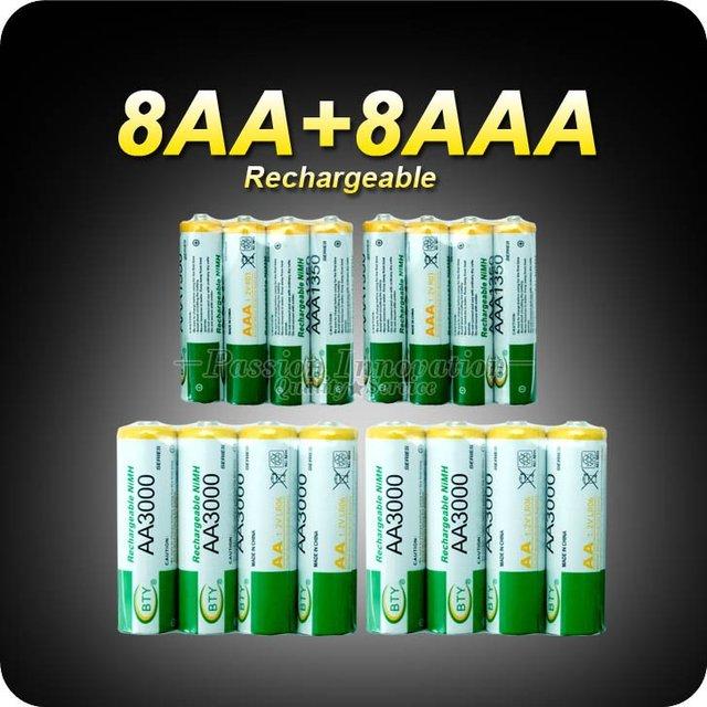 Rechargeable Recharge Battery 8+8 AA AAA NiMH 1.2v Rechargeable Battery Charger AA 3000mAh / AAA 1350mAh