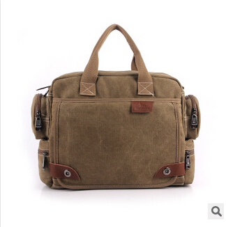 2015 new casual style men's canvas shoulder bags with strap office bag men with cell pehone pocket men's bag MW020(China (Mainland))