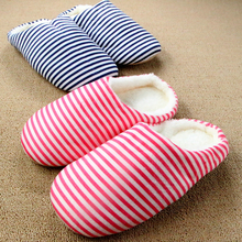 Winter Cotton Flock House Women Indoor Slippers For Men home Shoe New Minimalist Stripes Floor Lovers Chinelos Homem Slippers