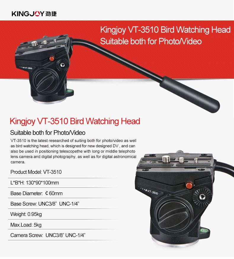 KINGJOY Official VT-3510 Video Tripod Head For Camera Aluminum Stand Alloy Fluid Damping  Holder Stativ Mobile Flexible SLR DSLR