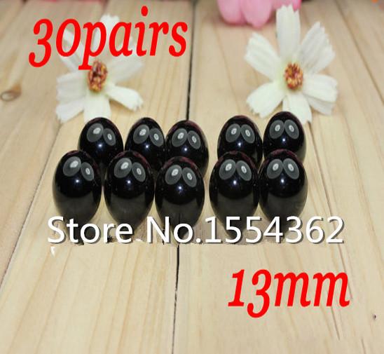 fress ship!!!13mm Toy Eyes Amigurumi Eyes Safety Eyes for Corchet doll-30pairs Black(China (Mainland))