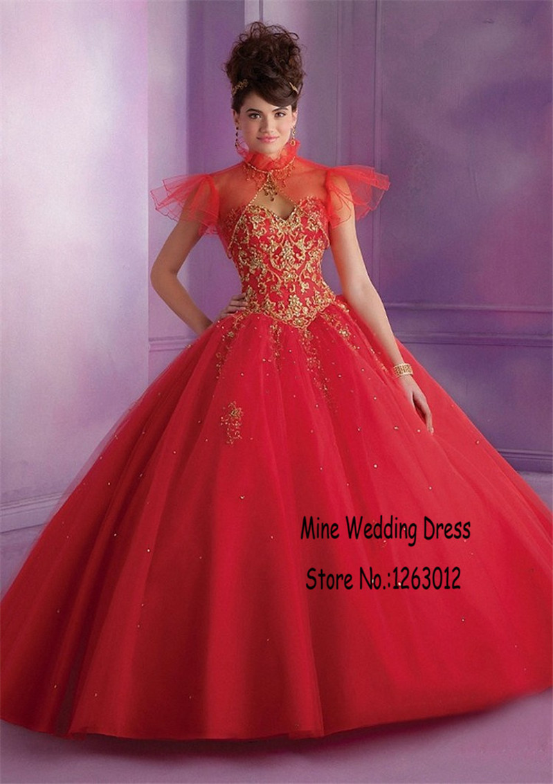 Popular Red Gold Quinceanera Dress-Buy Cheap Red Gold Quinceanera ...
