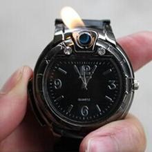 2015 venta caliente nuevos hombres frescos de cigarrillo del Gas butano / del alumbrador del cigarro recargable reloj banda de silicona de cuarzo reloj de pulsera envío gratis