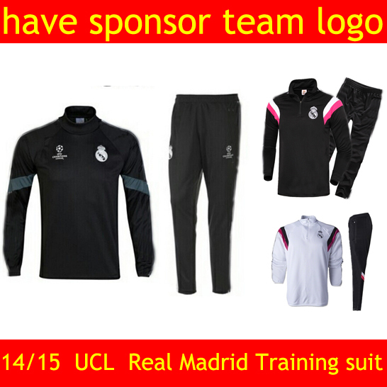 TOP!UEFA Champions League 2015 Real Madrid soccer training suit Chelsea tracksuit AC Milan Dortmund Manchester Long sleeve pant(China (Mainland))