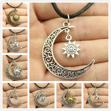 Buy New fashion jewelry chain link design Crescent Moon Sun Star Leather Chain Necklace women girl nice gift for $1.28 in AliExpress store