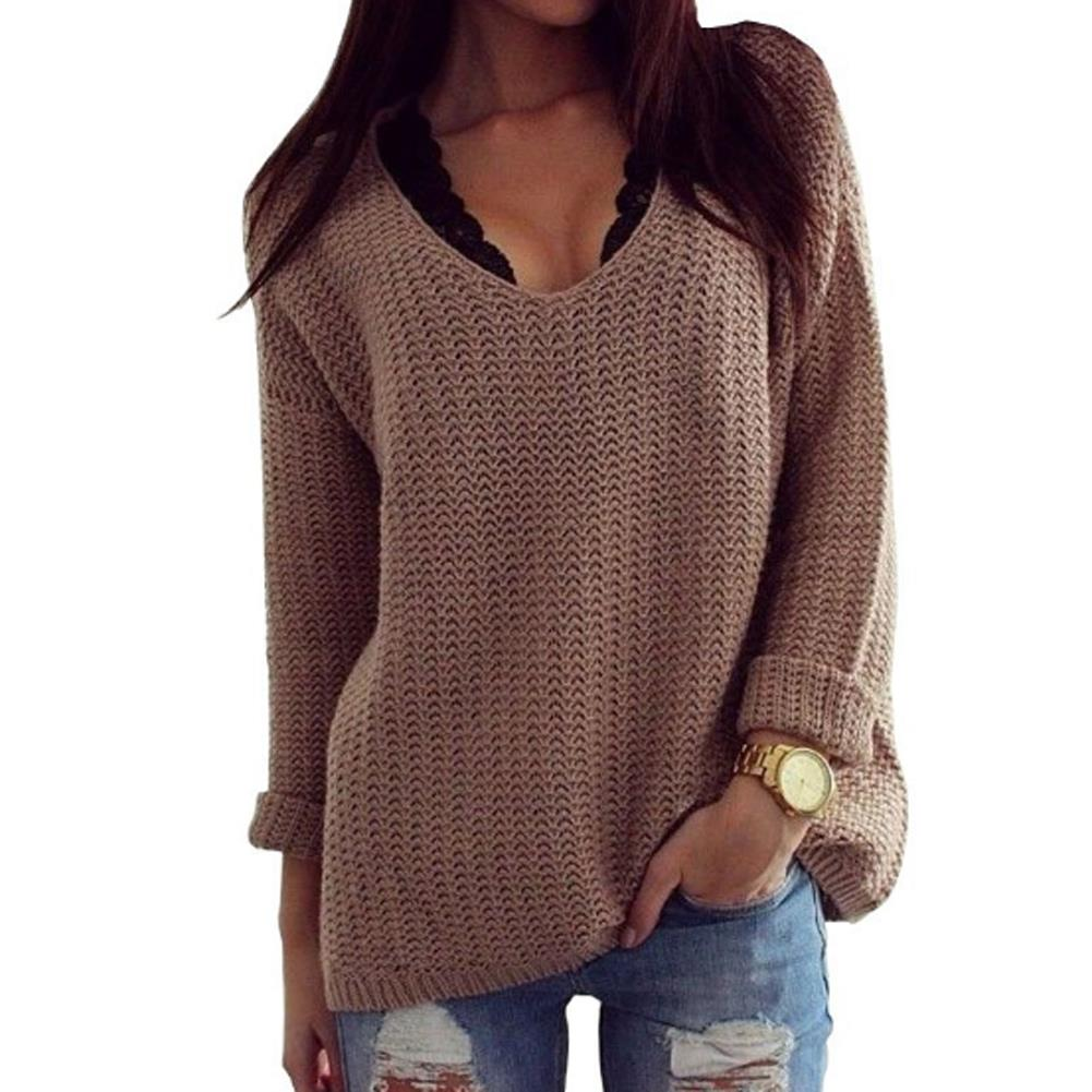 Womens Winter Jumpers khaki Brown Knitted Sweater Poncho Pullover Pulls Big K...