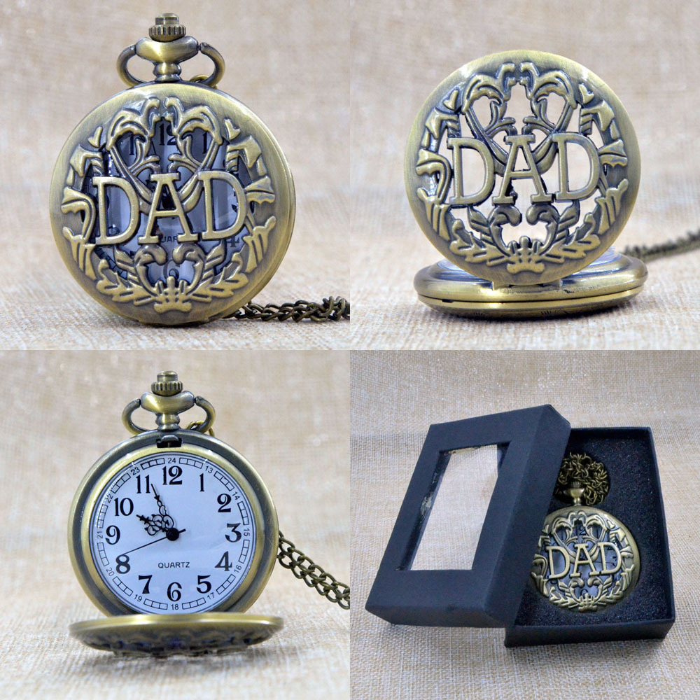 Fashion Bronze DAD Father Hollow Quartz Pocket Watch Analog Pendant Necklace Mens Gift Box P001B(China (Mainland))
