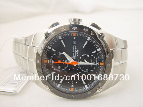 New  SNA451 MENS SPORTURA WATCH BLACK DIAL SNA451 CHRONOGRAPH 100M WATCHES Stopwatch  WATCH