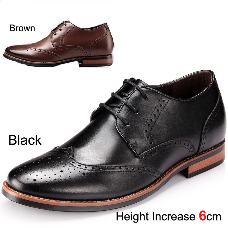 Newest 2014 Popular Genuine Leather Oxfords Shoes Lace-Up Classic Brouge Shoes for Mens Lift Height 6CM-Sz37-42 Black / Brown<br>