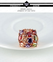 High Quality Multicolor Austrian Crystal SWA Element Engagement Rings With 18K Rose Gold Plate AAA Zircon