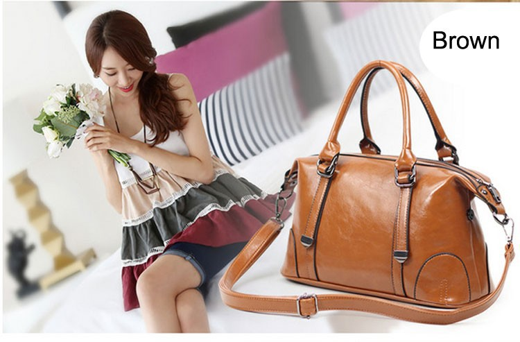 Hot Wax Oil Cow Leather Bag New 2015 Women Handbag Genuine Leather