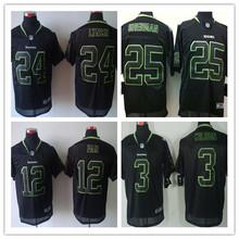 Stitiched,high quality,Seattle Seahawks Marshawn Lynch,Richard Sherman Russell Wilson fan,all black(China (Mainland))