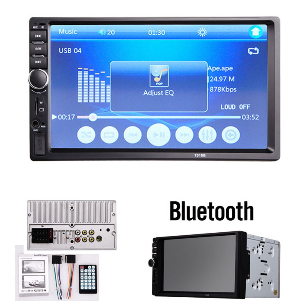7018B 7 Inch LCD Double DIN Car In-Dash Touch Screen Bluetooth Car Stereo FM MP3 MP5 Radio Player with Wireless Remote Control