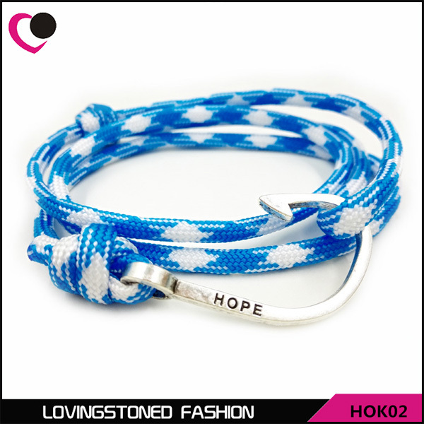Hope Men's Fish Hook Bracelet ,34 Colors Rope Wrap Anti-silver Nautical Wrap Hook Bracelets On Sale-HOK02(China (Mainland))
