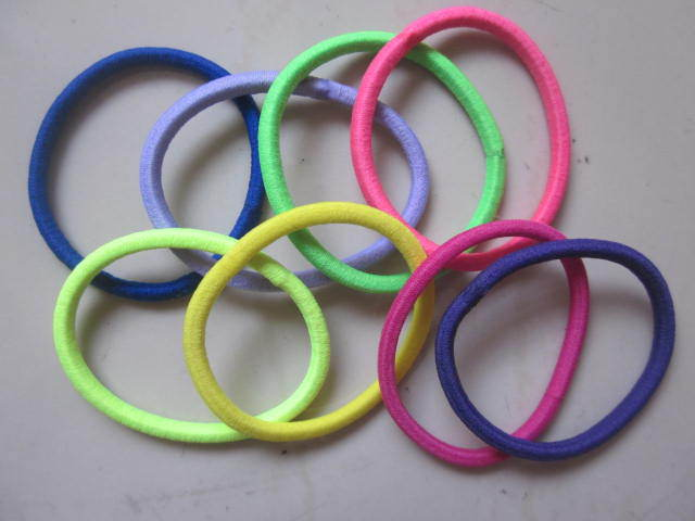 100pcs/lot Black Color Rope Elastic Hair Ties 4mm Thick Hairbands Girl's Hair Bands J004