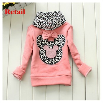 2015 baby leopard pop elements turtleneck pullover girl minnie thick base shirt girl winter coat baby autumn sweater TZ-A016
