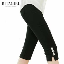 2015 New Arrivals Summer Style Short Trousers For Women With Bottons Solid Leggins With Elastic Knee-Length Leggings NBZ0070(China (Mainland))