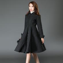 Oversize Coat Winter Coat Women Maxi Dress Style Embossed Cotton Winter Jacket Women Black Dress Parka Femme,Manteau Femme C2457(China (Mainland))