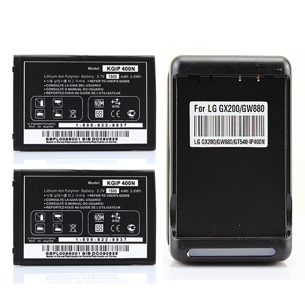 2x 1500mAh Battery + Charger For LG Optimus LS670 MS690 P500 GT 540 LW690 GX200,GX300,GX500,GW620,GM750,GX820,GW825V,GW880 VM670