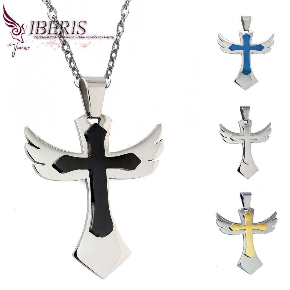 High Quality Men's Jewelry Black Stainless Steel Angel Wings Cross Pendant Necklace Chain(China (Mainland))