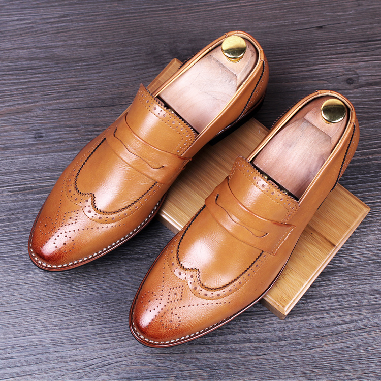 men vintage wedding nightclub dress breathable genuine leather bullock shoes carved brogue slip shoe print loafers zapatos - Miyado store