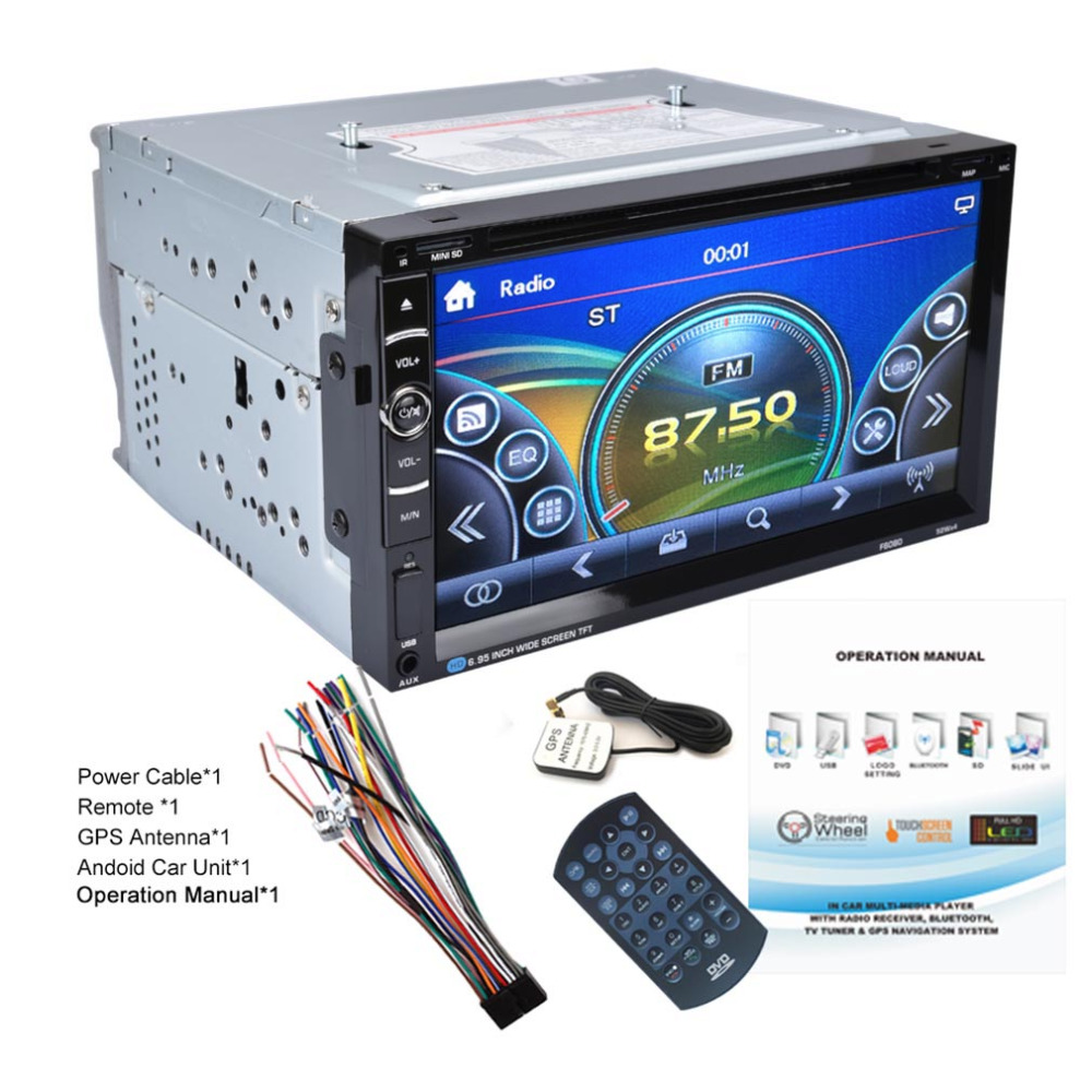 Universal Android 7inch Dual 2Din 800 * 480 Car Stereo Radio GPS DVD Player Auto Audio USB Bluetooth Radio FM