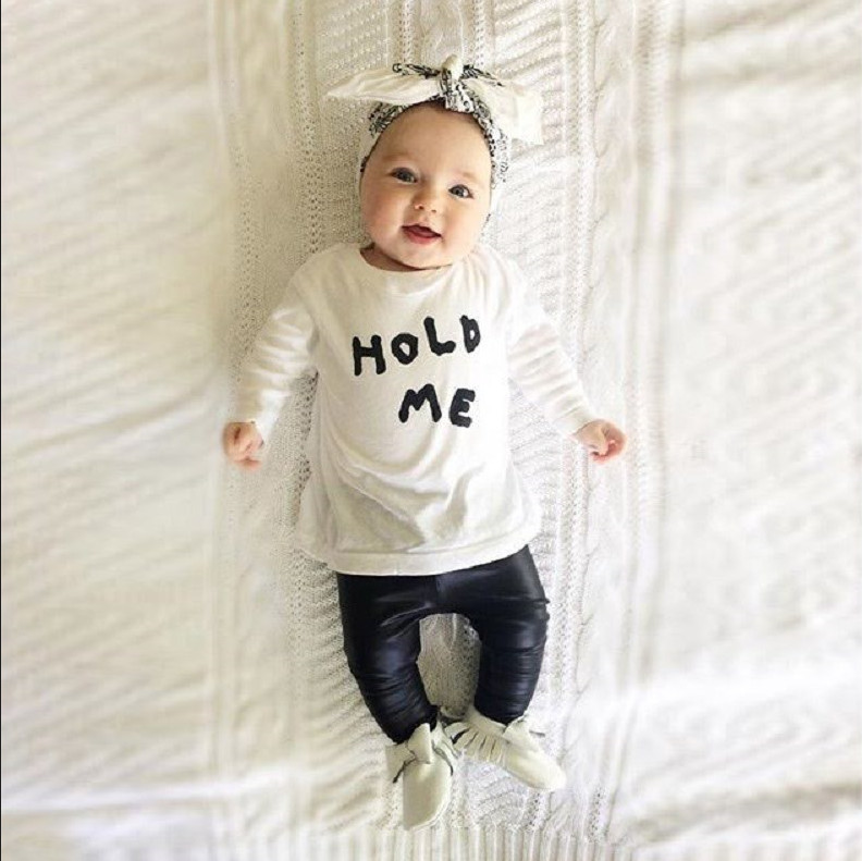 2016 New Design Baby Boys Sets Babys Clothes Boy Cloth Suits Fashion Long Sleeve PU Loose Pants Cotton Set T Shirt Letters(China (Mainland))