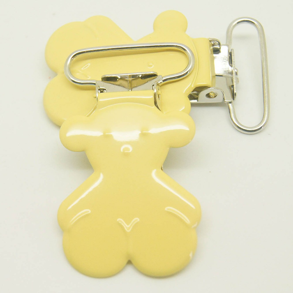 20,bear shaped suspender clip yellow color 25mm ribbon clips pacifier