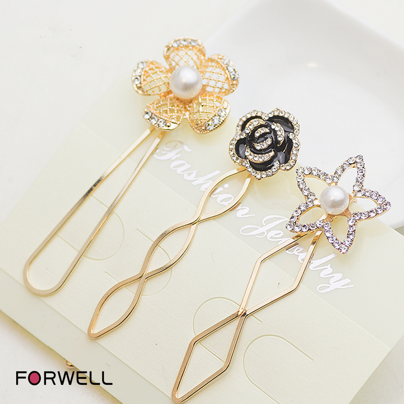 Cute pearl five-pointed star rhinestone hairpins hair accessories for women girls exquisite headdress flower hair ornaments(China (Mainland))