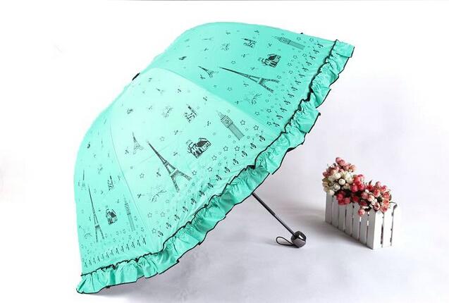 2015 творческий милый эйфелева башня печать 3 раза женщины зонтики полиэфирной ткани супер анти-уф зонт зонтик дождь зонтик