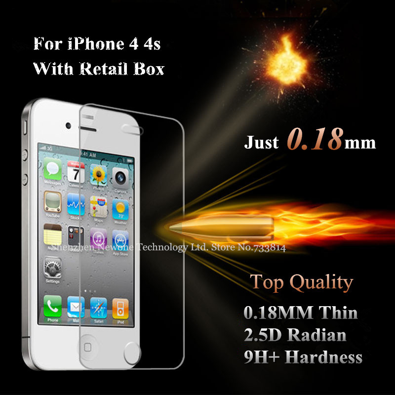 Top Quality 0.18mm Thin LCD Clear Front Tempered Glass Screen Protector Protective Film For iPhone 4 4g 4S With Retail Package(China (Mainland))