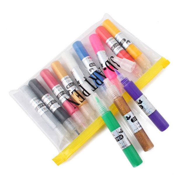 Beautiful 12 Color 3D Paint Pen UV Gel Acrylic Nail Art Polish #3606