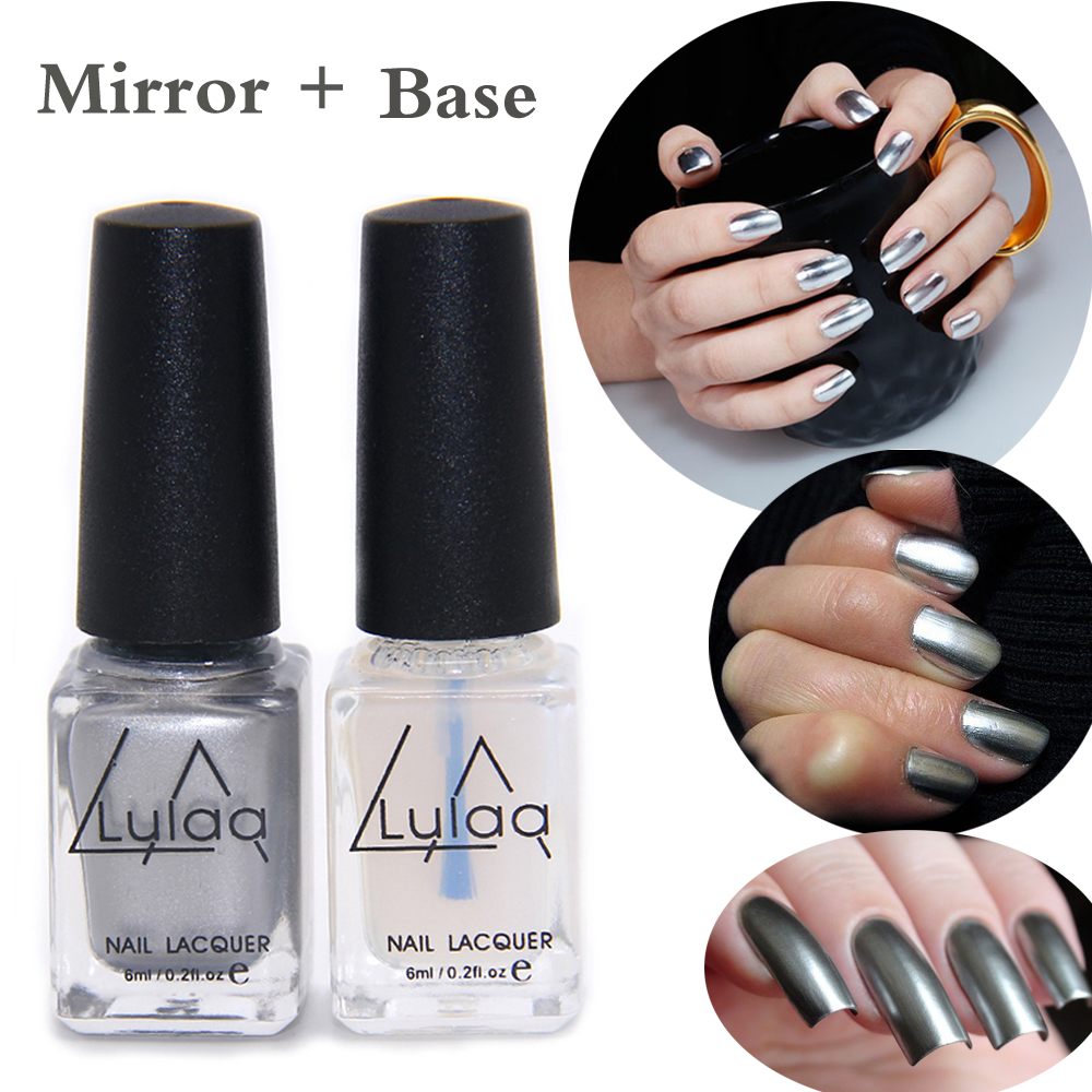 2pc/lot 6ml Silver Mirror Effect Metal Nail Polish Varnish Top Coat Metallic Nails Art Tips Nail Polish Fashion Polish(China (Mainland))